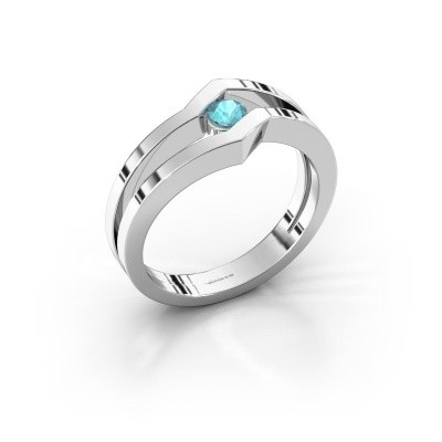 Ring Elize 585 witgoud blauw topaas 3.4 mm