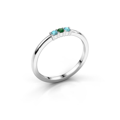 Verlovings ring Yasmin 3 585 witgoud smaragd 2 mm