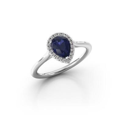 Engagement ring Monique 1 585 white gold sapphire 7x5 mm