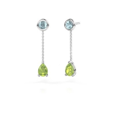 Picture of Drop earrings Laurie 3 950 platinum peridot 7x5 mm