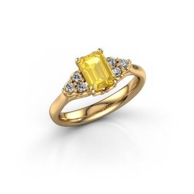 Bild von Verlobungsring Myrna EME 375 Gold Gelb Saphir 7x5 mm