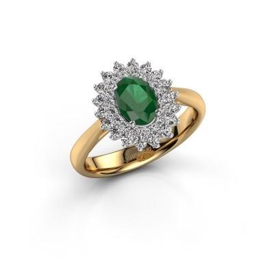 Verlovingsring Alina 1 585 goud smaragd 7x5 mm