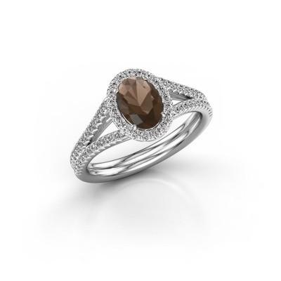 Engagement ring Rachele 2 950 platinum smokey quartz 7x5 mm