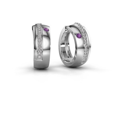Picture of Hoop earrings Shakita 925 silver amethyst 2 mm