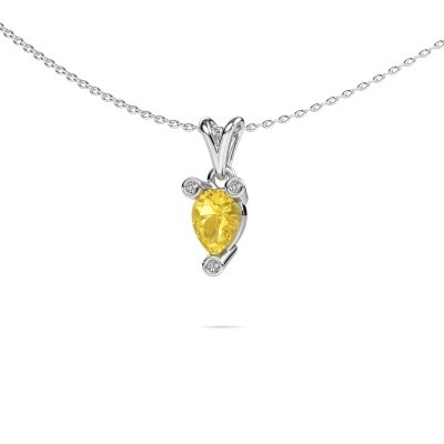 Photo de Collier Cornelia Pear 585 or blanc saphir jaune 7x5 mm
