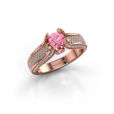 Foto van Verlovingsring Jeanne 2 375 rosé goud roze saffier 5 mm
