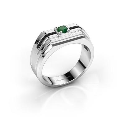 Foto van Heren ring Oliver 585 witgoud smaragd 4 mm