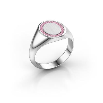 Foto van Zegelring Rosy Oval 2 375 witgoud roze saffier 1.2 mm