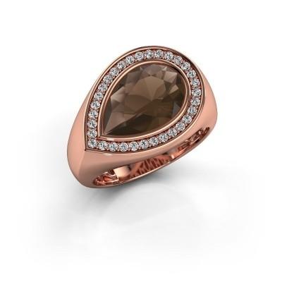 Ring Latashia 375 rosé goud rookkwarts 12x8 mm