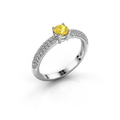 Foto van Ring Marjan 585 witgoud gele saffier 4.2 mm