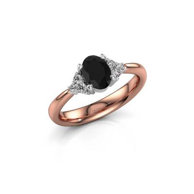 Foto van Verlovingsring Aleida OVL 1 585 rosé goud zwarte diamant 1.18 crt
