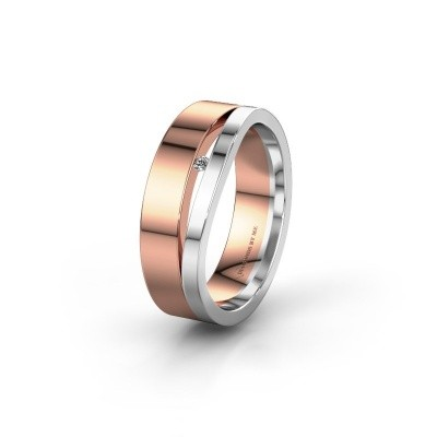 Wedding ring WH6000L16AP 585 rose gold zirconia ±6x1.7 mm
