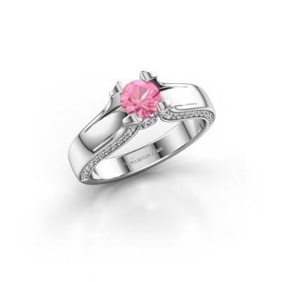 Bague de fiançailles Jeanne 1 950 platine saphir rose 5 mm