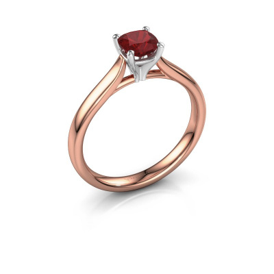 Verlovingsring Mignon cus 1 585 rosé goud robijn 5 mm