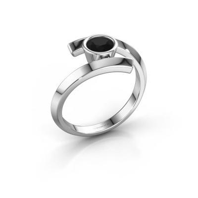 Ring Mara 585 witgoud zwarte diamant 0.60 crt