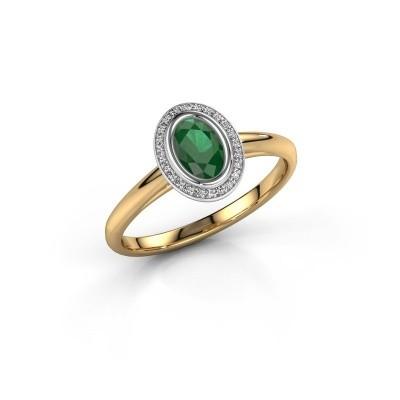 Verlovingsring Noud 1 OVL 585 goud smaragd 6x4 mm