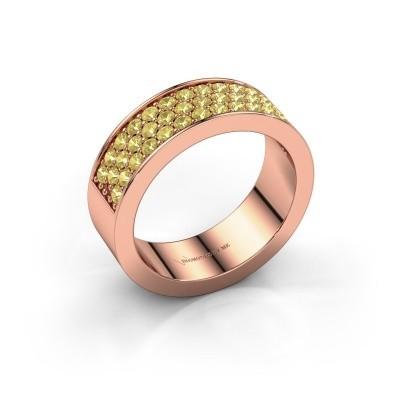 Ring Lindsey 6 375 rosé goud gele saffier 1.7 mm