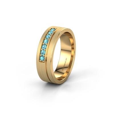 Trouwring WH0312L16AM 585 goud blauw topaas ±6x1.7 mm