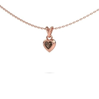 Picture of Pendant Charlotte Heart 375 rose gold smokey quartz 4 mm