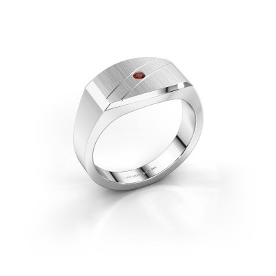 Men's ring Joe 3 585 white gold garnet 2 mm