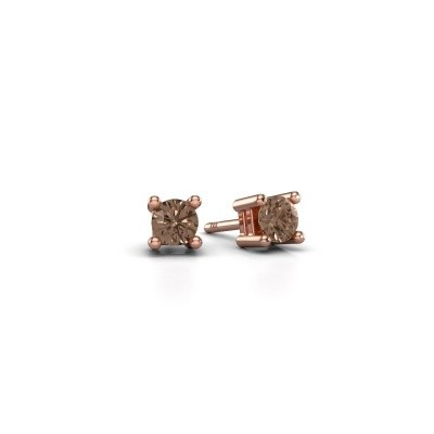 Foto van Oorknopjes Eline 375 rosé goud bruine diamant 0.25 crt