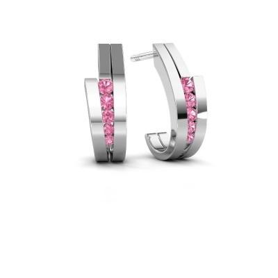 Oorbellen Cato 925 zilver roze saffier 2.2 mm