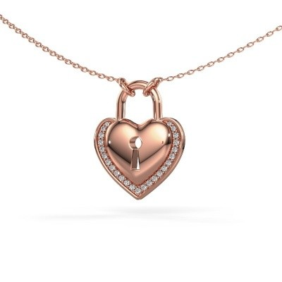 Halsketting Heartlock 375 rosé goud zirkonia 1 mm