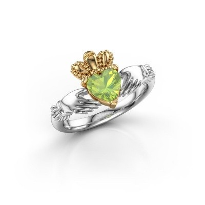 Picture of Ring Claddagh 2 585 white gold peridot 6 mm