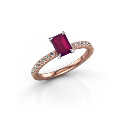 Foto van Verlovingsring Crystal EME 2 585 rosé goud rhodoliet 6.5x4.5 mm