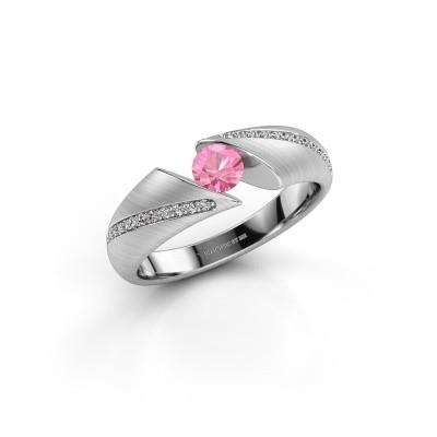 Verlovingsring Hojalien 2 925 zilver roze saffier 4.2 mm