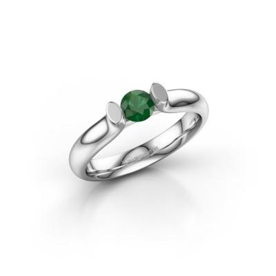 Foto van Verlovingsring Ashlyn 1 585 witgoud smaragd 4.2 mm