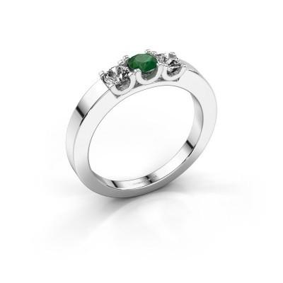 Foto van Verlovingsring Selina 1 585 witgoud smaragd 3.7 mm