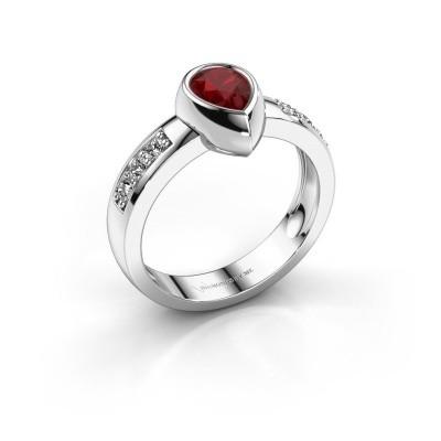 Ring Charlotte Pear 925 Silber Rubin 8x5 mm