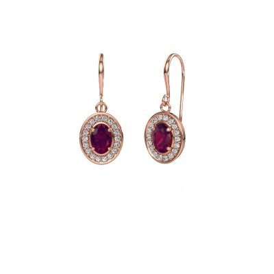 Picture of Drop earrings Layne 1 375 rose gold rhodolite 6.5x4.5 mm