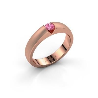 Verlovingsring Theresia 375 rosé goud roze saffier 3.4 mm