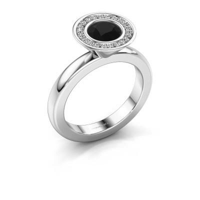 Stapelring Danille 925 zilver zwarte diamant 1.07 crt