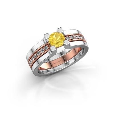 Foto van Verlovingsring Myrthe 585 rosé goud gele saffier 5 mm