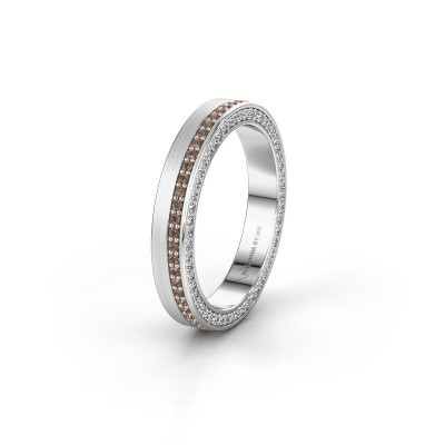 Trouwring WH2214L15BM 585 witgoud bruine diamant 0.55 crt ±5x2 mm