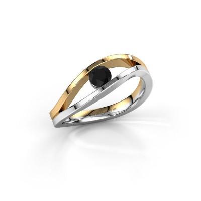 Foto van Ring Sigrid 1 585 witgoud zwarte diamant 0.30 crt