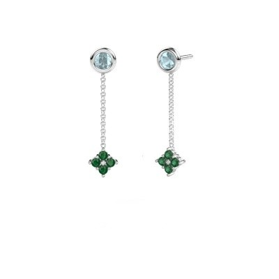 Picture of Drop earrings Ardith 585 white gold emerald 2 mm