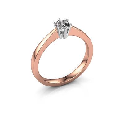 Bague de fiançailles Noortje 585 or rose diamant synthétique 0.25 crt