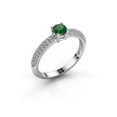Foto van Ring Marjan 585 witgoud smaragd 4.2 mm