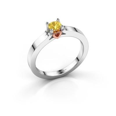 Foto van Belofte ring Eliz 585 witgoud gele saffier 4.2 mm