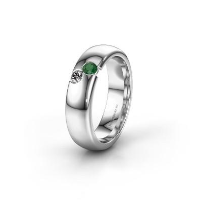 Wedding ring WH1003L26C 950 platinum emerald ±6x2.2 mm
