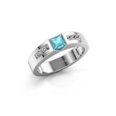 Foto van Verlovings ring Arlena 2 585 witgoud blauw topaas 4 mm