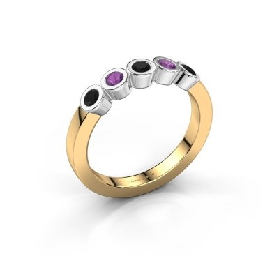 Bague Nova 585 or jaune diamant noir 0.36 crt