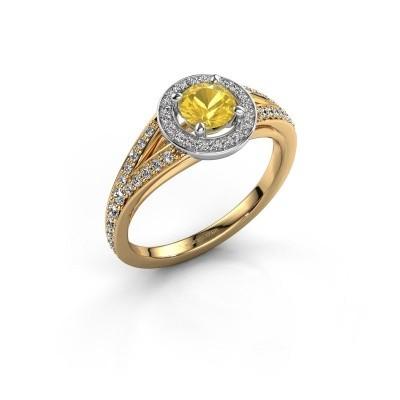 Aanzoeksring Angelita RND 585 goud gele saffier 5 mm