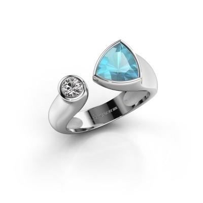 Ring Latisha 950 platina blauw topaas 7 mm