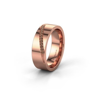Wedding ring WH2146L17A 375 rose gold brown diamond ±7x1.7 mm