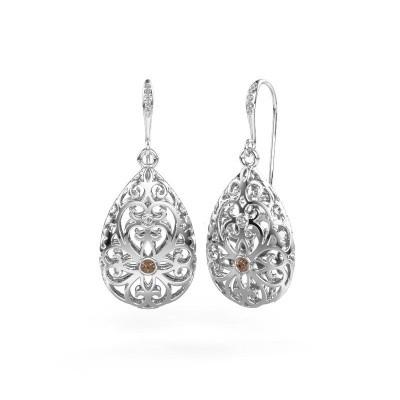 Foto van Oorhangers Idalia 2 950 platina bruine diamant 0.105 crt